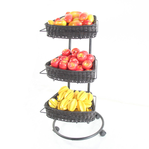 Fan-shaped Rattan Basket with Display Rack