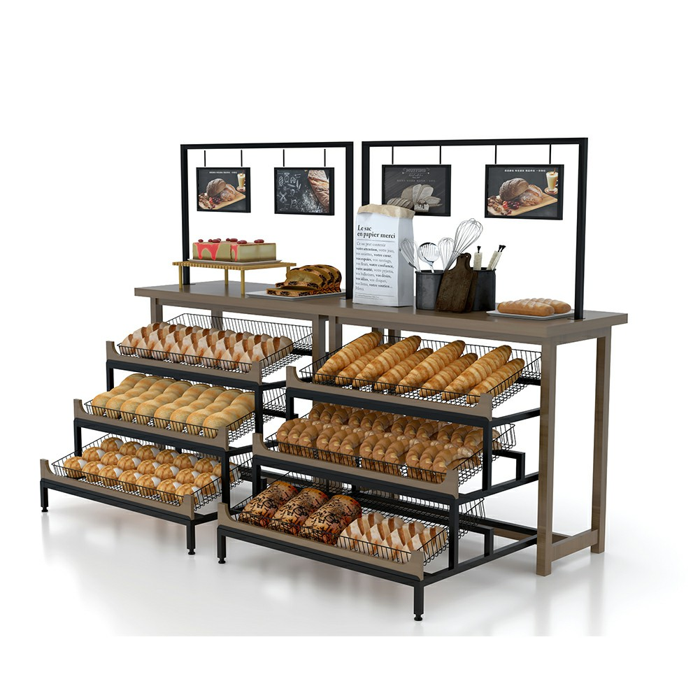 Wooden Bakery Display Shelf