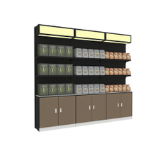 Supermarket Shelf with Wooden Cabinet And LED Light Box