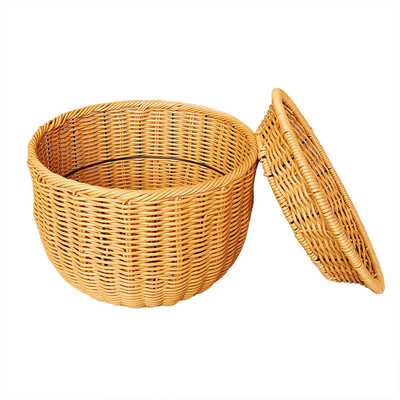 Two Layers Round Rattan Basket